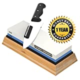 Whetstone Knife Sharpening Stone: 2-Sided Professional Grade Japanese Style Waterstone Blade Sharpener, 1000 / 6000 Grits, with Non-Slip Base, Angle Guide, Illustrated PDF Guide & Video Instructions