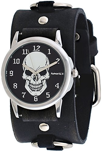 Nemesis #FRB921K Men's Black Death Skull Dial Wide Leather Ring Cuff Band ()