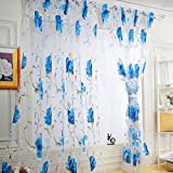 WensLTD Clearance! 1PC Vines Leaves Tulle Door Window Curtain Drape Panel Sheer Scarf Valances (Blue)