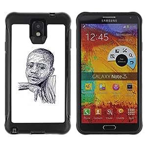 Suave TPU Caso Carcasa de Caucho Funda para Samsung Note 3 / black boy African American white sketch / STRONG