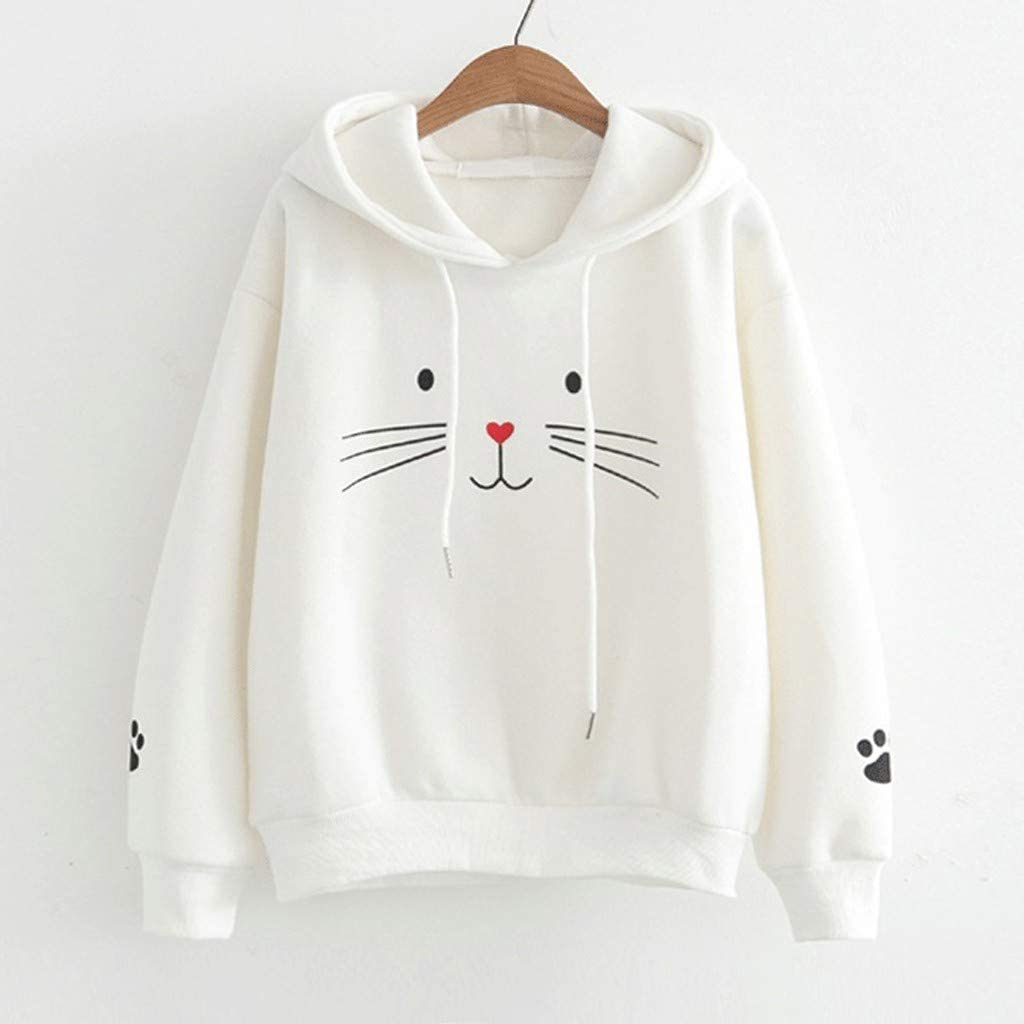 Cuekondy Women Long Sleeve,Hooded Sweatshirt For Teen Girls Cat Printing Shirt Casual Loose Hoodie Pullover Blouse