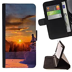 BullDog Case - FOR/LG OPTIMUS L90 / - / Sunset Beautiful Nature 46 /- Monedero de cuero de la PU Llevar cubierta de la caja con el ID Credit Card Slots Flip funda de cuer