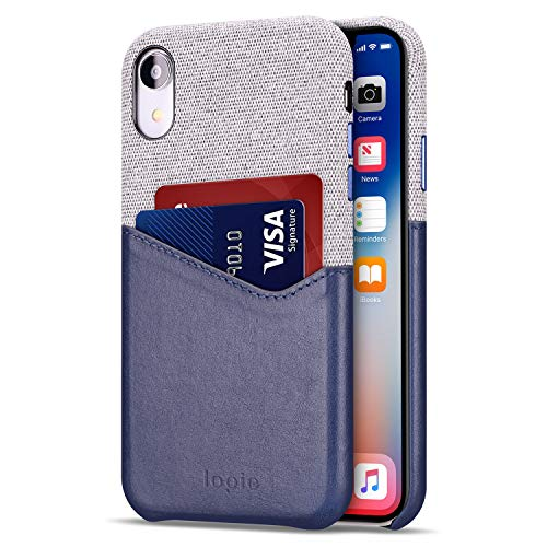 lopie [Sea Island Cotton Series Slim Card Case Compatible for iPhone Xr 2018, Fabric Protection Cover with Leather Card Holder Slot Design - Navy Blue