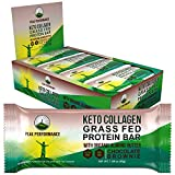 Keto Bars - Grass Fed Collagen Keto Protein Bars with Organic Almond Butter by Peak Performance (12 Pack). Delicious, Gluten Free, No Added Sugar, Perfect Snack for Paleo + Keto Chocolate Brownie Bar