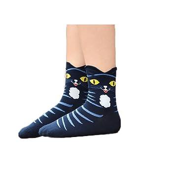 MoGist Mujer Calcetines Color nettes Caricatura Gatos Sonrisa algodón Transpirable Medio Tiempo Libre Calcetines de Deporte Largo Azul Oscuro: Amazon.es: ...