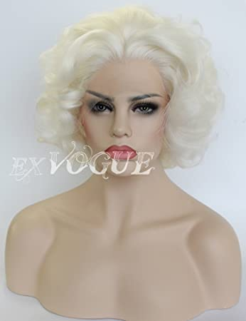 Amazon.com   Exvogue Short White Platinum Blonde Wigs for Women Deep Wave  Lace Front Synthetic Hair Wig   Beauty d1eee761d56c