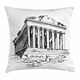 Ambesonne Antique Throw Pillow Cushion Cover, Hand Drawn Greece Pantheon Sketch Antique Roman Historical Cultural Heritage Print, Decorative Square Accent Pillow Case, 16 X 16 inches, Black White