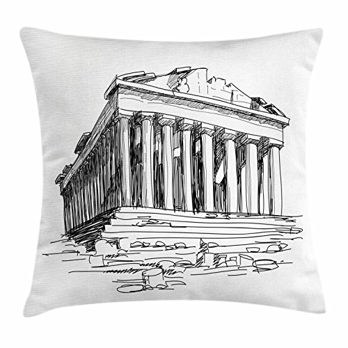 Ambesonne Antique Throw Pillow Cushion Cover, Hand Drawn Greece Pantheon Sketch Antique Roman Historical Cultural Heritage Print, Decorative Square Accent Pillow Case, 16 X 16 inches, Black White by Ambesonne