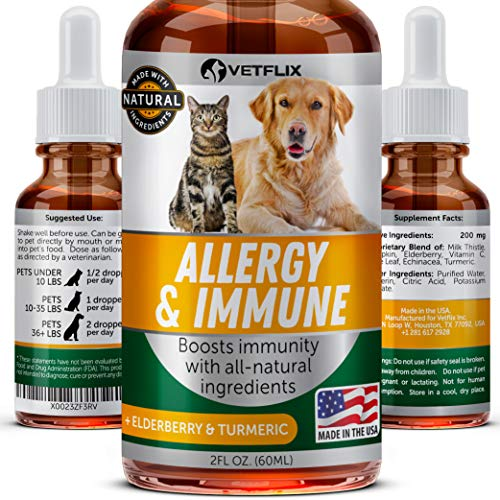 VETFLIX Pet Immune Support - Made in USA - Cat & Dog Allergy Relief - Anti Itch & Hot Spots Skin Remedy - Milk Thistle & Turmeric - Great Immune Support - Vitamin C for Pets - 100% Natural - No GMO