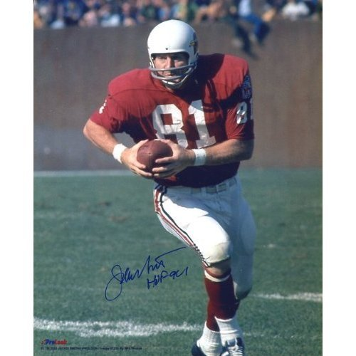 (Jackie Smith (Football Hall of Fame) Autographed/ Original Signed 8x10 St. Louis Cardinals Color Action-photo with Written Inscription