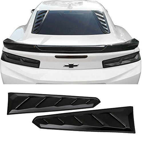 (Window Louvers Fits 2016-2019 Chevy Camaro | ABS Plastic Black Rear Window Visor Guards By IKON MOTORSPORTS | 2017 2018)