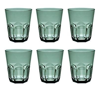 QG 15 Ounce Acrylic Plastic Rocks Glass Cup Heavy Hexagonal Base Tumbler Set of 6 Smoke Grey