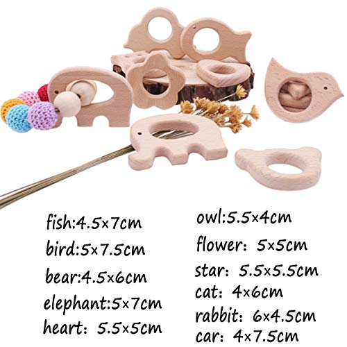 Promise Babe Baby Wooden Teether 11pc Wood Teething Toy Nature Beech Animals Safe Teething Relief Toys DIY Bracelet Necklace Teething Jewelry Accessories