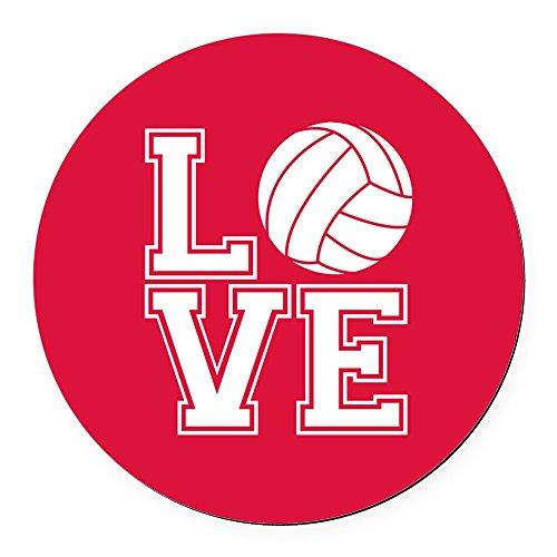 CafePress - Love Volleyball, Crimson Red, Round Round Car Magn - Round Car Magnet, Magnetic Bumper -