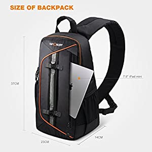 K&F Concept Professional Camera Sling Backpack with Rain Cover and Padded Crossbody Strap for Canon Nikon Sony DSLR & Mirrorless , Lens & Accessories Camera Bag - Black