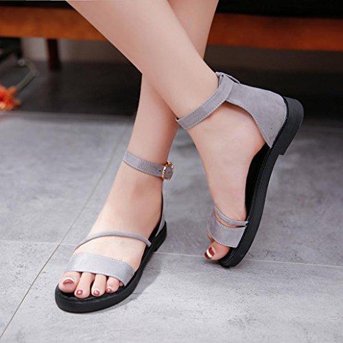 Hemlock Flat Sandals Women Low Heels Platform Shoes Beach Roman Sandals Peep-toe Slipper (US:7, Grey)