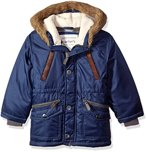 Carter's Little Boys' Heavyweight Fashion Parka, Navy, 4 - Fleece Heavyweight Parka