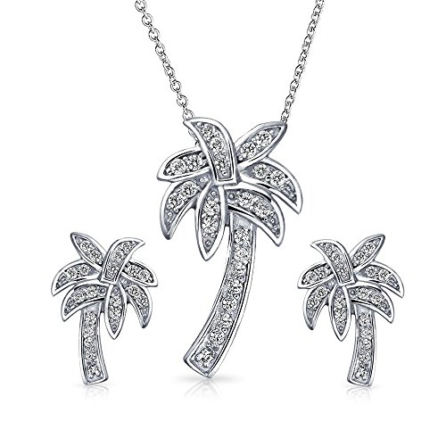 .925 Sterling Silver Pave CZ Palm Tree Pendant and Earrings (Pave Palm Tree)