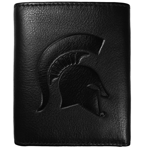 Siskiyou NCAA Michigan State Spartans Embossed Black Tri-fold Leather Wallet