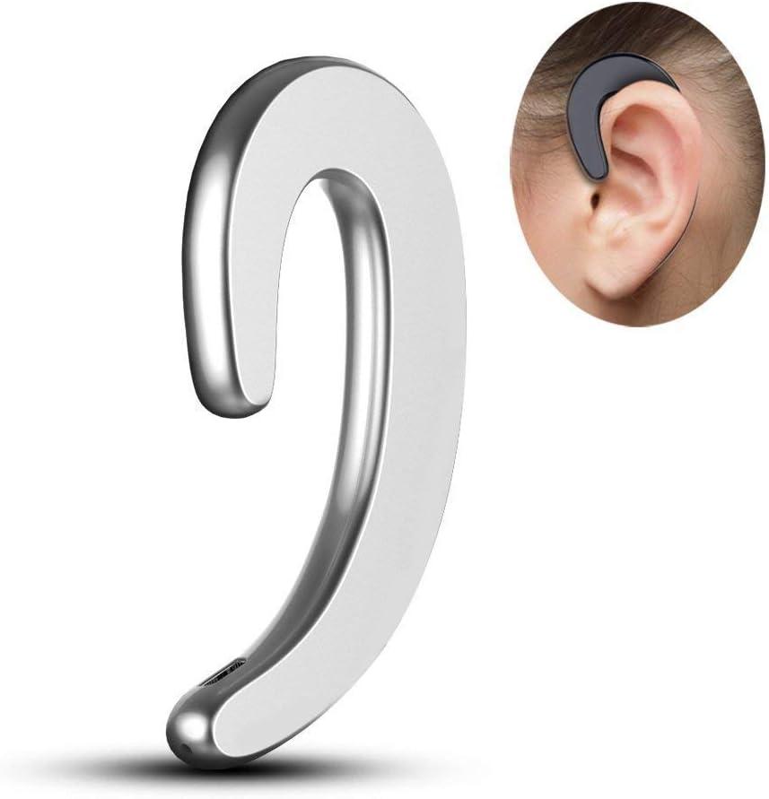 BoneTech Earphones, Ear Hook Wireless Headphones Non Ear Plug Bluetooth Headset with Mic, Bone Conduction Headphones, Single Ear Hook Headset Earbud,