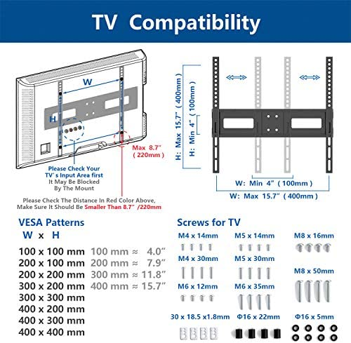 Rfiver Universal Table Top TV Stand TV Base Replacement for Most 27 30 32 39 40 42 43 46 50 55 inch LCD LED Plasma Flat Screen TVs, Vesa Mount Holds as much as 88lbs, Height Adjustable and Cable Management
