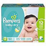 Pampers Pañales Desechables Baby Dry, Talla 2, 160 Piezas