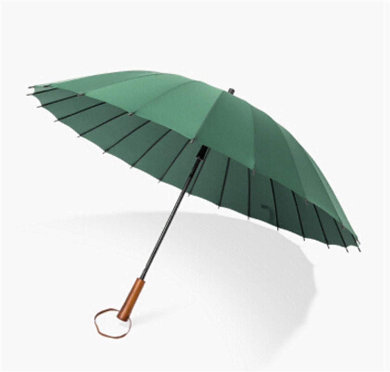 Big Umbrella Outdoor Large Windproof Mens Leather Long Straight Handle Sunny and Rain Umbrella With Shoulder Bag Y33,Dark green