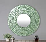 East at Main Seaside Turquoise Modern Round Capiz Shell Mirror, 24''x1''x24''