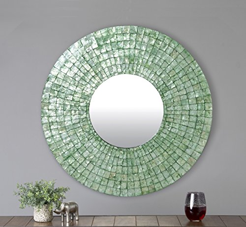 East at Main Seaside Turquoise Modern Round Capiz Shell Mirror, 24''x1''x24'' by East At Main