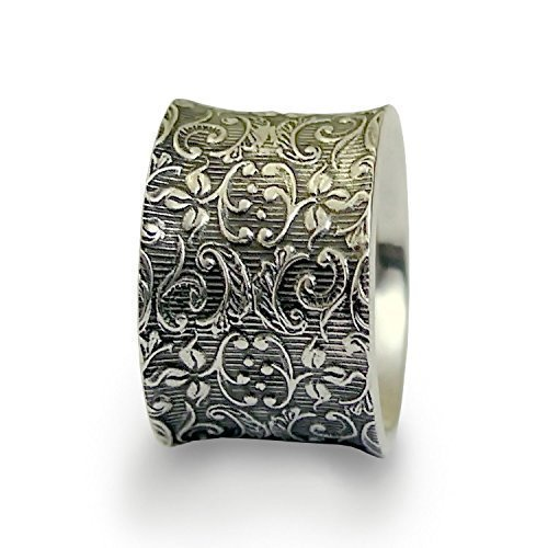 Floral Wedding band, wide silver ring, Vintage band, Sterling silver band, oxidized silver ring, botanical ring, silver flowers ring for woman, filigree ring