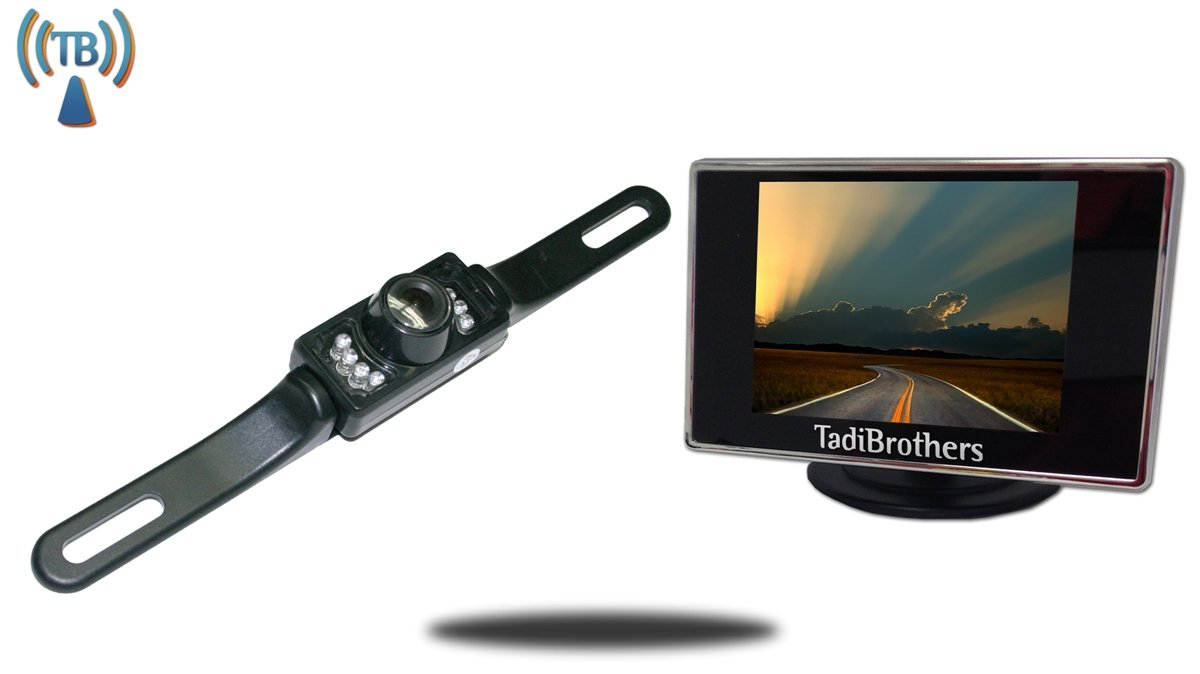 Tadibrothers 3.5 Inch Monitor with Wireless License Plate Backup Camera