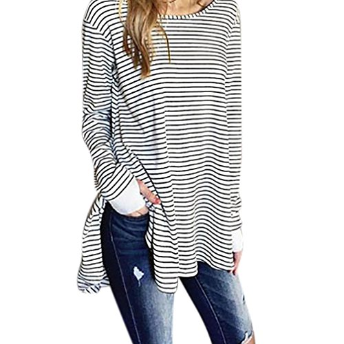Clearance Sale! Women Shirts WEUIE Womens Plus Size Loose Pullover Long Sleeve Stripe Split Shirt Tops Blouse (Size L/ US 8, White) (Drawstring Sherpa Sweatshirt)