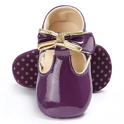 Auxma Baby Mädchen Bowknot Schuhe Kleinkind Turnschuhe Casual Schuhe Soft Leder Baby Schuhe für 3-18 Monate (12-18 M, Weiß) Lila