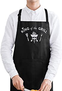 fodiyaer Grill Apron for Papa, Best, Funny Barbecue Apron,Men's Kitchen Master Cooking Apron,King of The Grill