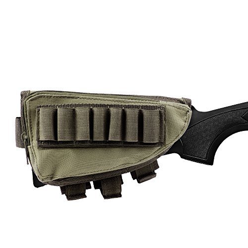 Rifle Stock Pack | Cheek Pad | Buttstock Ammo Holder | Zippered Utility Pouch - Khaki