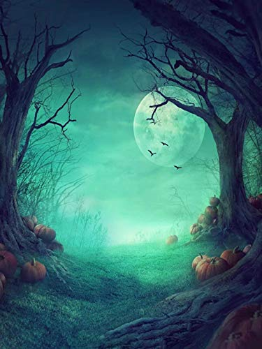 Kate 5ftX6.5ft (150cmX200cm) Halloween Children Photography Background Photo Backdrops Outdoor The Ghost Trees with Pumpkins Props for Studio(with Pocket)