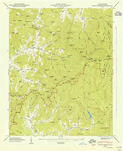 (YellowMaps Craggy Pinnacle NC topo map, 1:24000 Scale, 7.5 X 7.5 Minute, Historical, 1947, Updated 1947, 27 x 22.1 in - Paper)