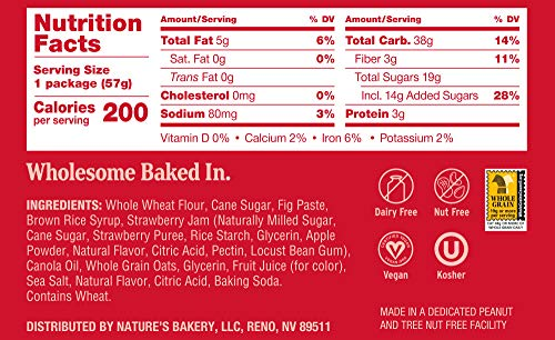 Nature's Bakery Whole Wheat Fig Bars, Strawberry, Real Fruit, Vegan, Non-GMO, Snack bar, 1 box with 12 twin packs (12 twin packs)