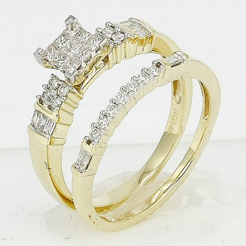 Dazzlingrock Collection 0.50 Carat (ctw) 14k Round, princess & baguette cut Diamond Ladies Bridal Ring Engagement Matching Band Set 1/2 CT, Yellow Gold