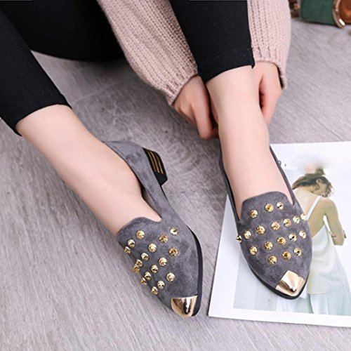 VEMOW Sandals for Women, Trainers Mary Janes Cute Lace-up Flats Flip Flops Thongs Espadrilles Wedge Running Walking Dance, Fashion Pointed Toe Rivet Casual Low Heel Flat Shoes Gray