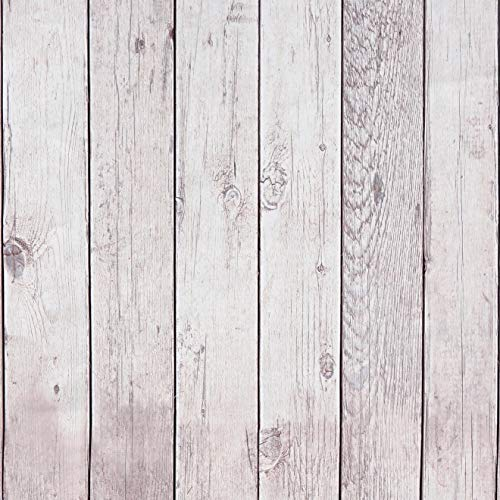 Wood Contact Paper Self-Adhesive Removable Wood Peel and Stick Wallpaper Decorative Wall Covering Vintage Wood Panel Faux Distressed Wood Plank Wooden Grain Film Vinyl Decal Roll 17.8in x 6.6ft-Narrow