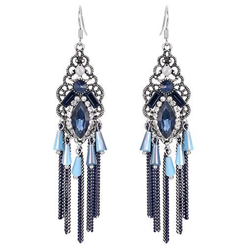 Stylebar Women Boho Hook Earrings Long Tassel Fringe Bohemian Sapphire Color Crystal Chain Chandelier Retro Dark Blue Rhinestone Drop Earrings Vintage Silver Tone