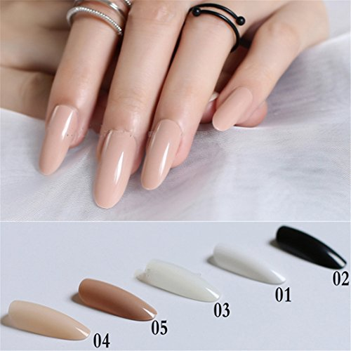 Black White Almond Long Oval Head Solid Color Round Blown False Nails 24Pcs Full Set End End Product Full Tips Fake Nails 04