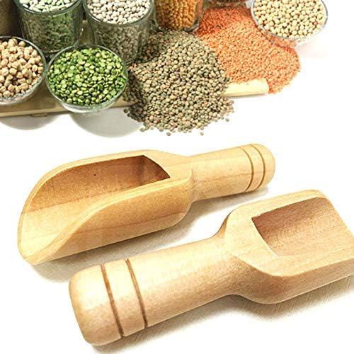 baskciry 3 Pcs Wooden Small Scoop Salt Sugar Coffee Spoon Mini Kitchen Cooking Tool