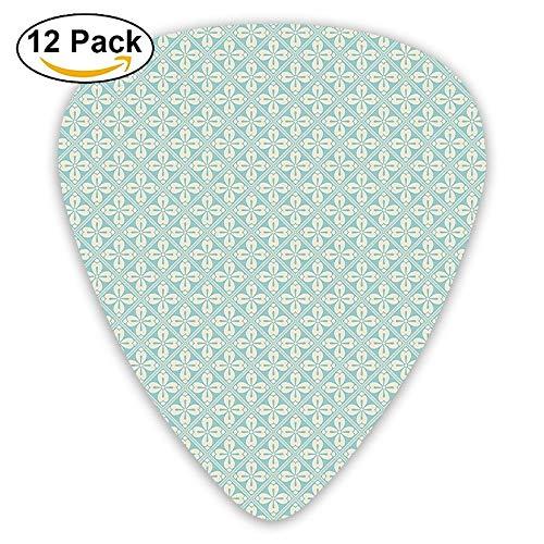 Diagonal Squares With Big Antique Motifs Of Flower Mosaic Style Tile Design Guitar Picks 12/Pack Set