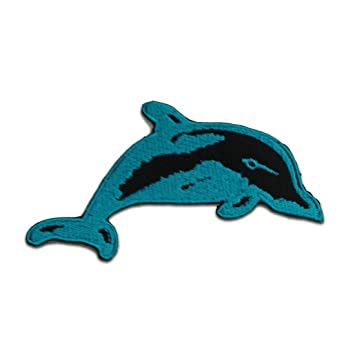 Baby Delfin Patches Aufbügeln Aufnäher // Bügelbild 6.9 x 4.1 cm blau