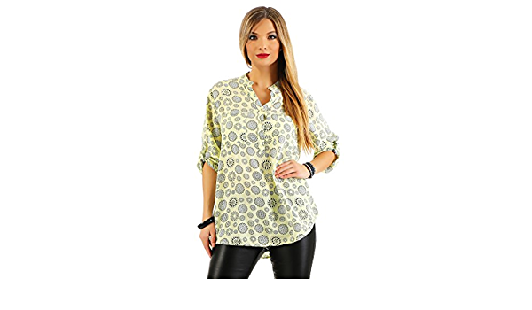 Zarmexx Blusa de manga larga, ajuste regular, viscosa, de verano, diseño de mandala