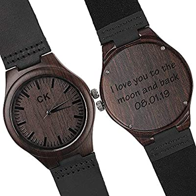Engraved Wooden Watch for Husband Boyfriend Customized Wood Watch for Men Leather Strap Wristwatch Personalized Wedding Anniversary Gifts for Men Birthday Gifts