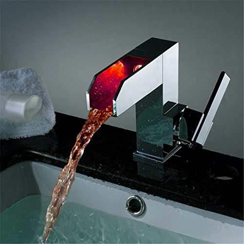 Electroplating Retro Faucet Electroplating Retro Faucet Luxury Luxury Luxury Self-power Lighted Basin Faucet Single Hole Single Handle Waterfall Faucet,Bathroom Faucet LD8005-08A,Chrome 71975b