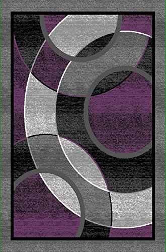 All New Modern Contemporary Circle Carved Design Area Rug Legacy Collection by Rug Deal Plus (2' x 7', Purple/Grey)